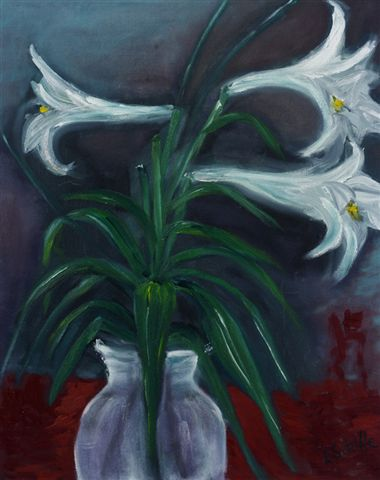 """Mums Lillies""   oil on canvas"