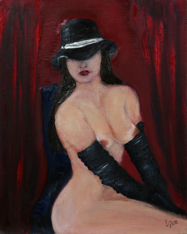 """Hat & Gloves""  oil on board canvas"